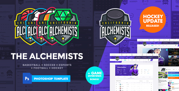 The Alchemists - Sports News PSD Template V4.0 + eSports & Gaming - Creative PSD Templates