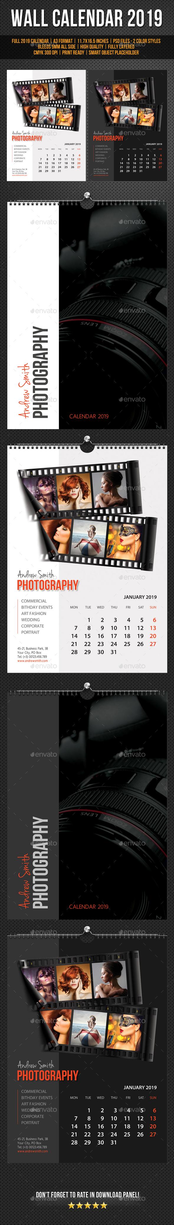 Wall Calendar A3 2019 v18 - Calendars Stationery