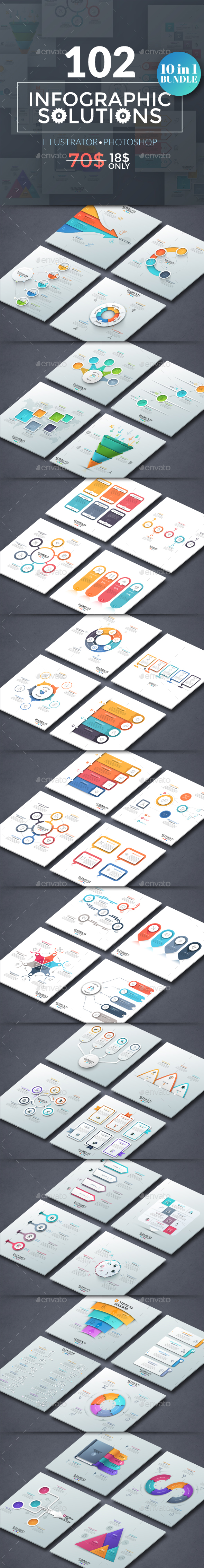 102 Infographic Solutions (10 in 1 Bundle) - Infographics
