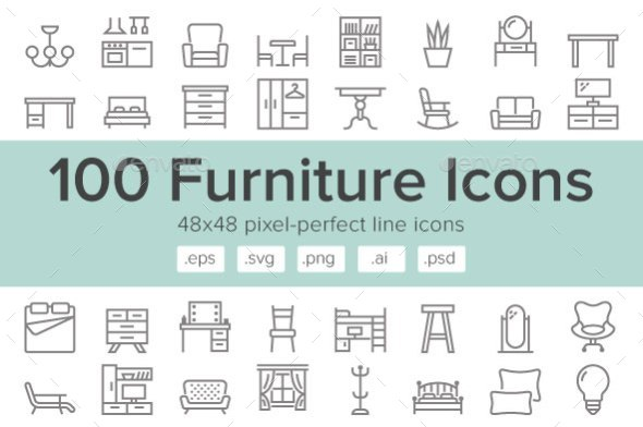 Furniture 100 Line Icons - Objects Icons