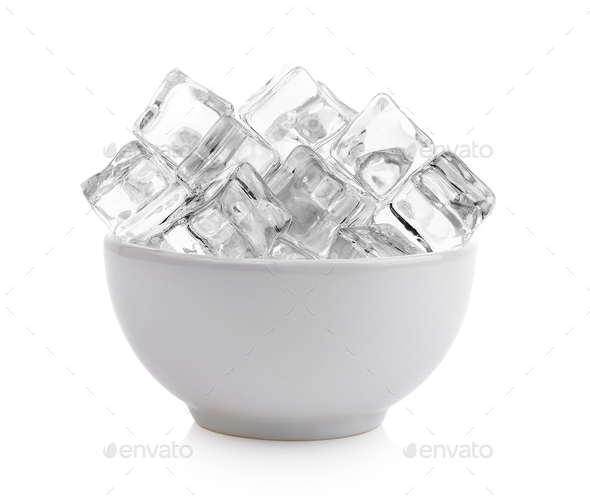 Ice Cubes In The Bowl On White Background Stock Photo By Sommai
