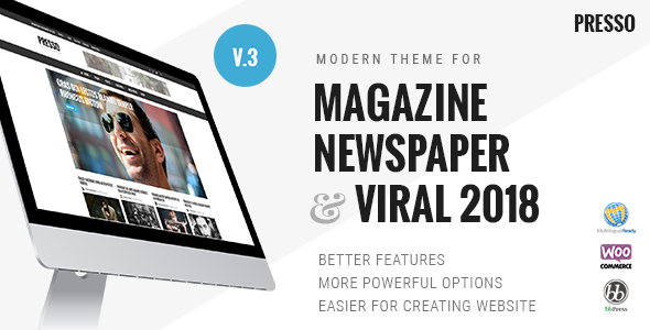 PRESSO - Modern Magazine / Newspaper / Viral Theme - Blog / Magazine WordPress