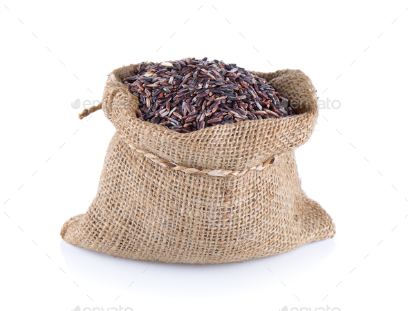 Rice Berry in sack - Stock Photo - Images