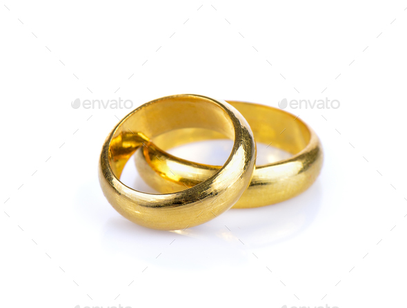 gold ring on white background - Stock Photo - Images