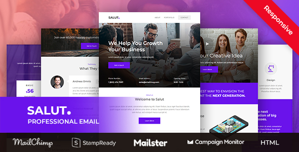 Image of Salut - Professional Agency Email Template Stampready Builder + Mailchimp + Mailster