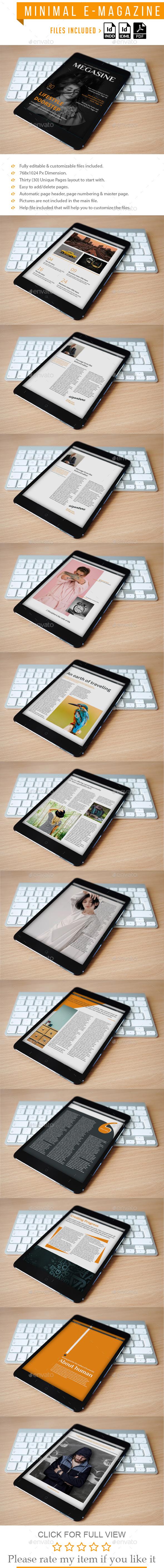 Minimal E Magazine Template - Digital Magazines ePublishing