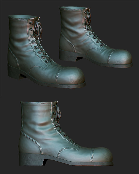 Boots with laces sculpt - 3DOcean Item for Sale