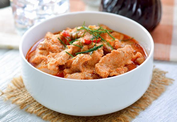 Panang curry with pork .thai food - Stock Photo - Images