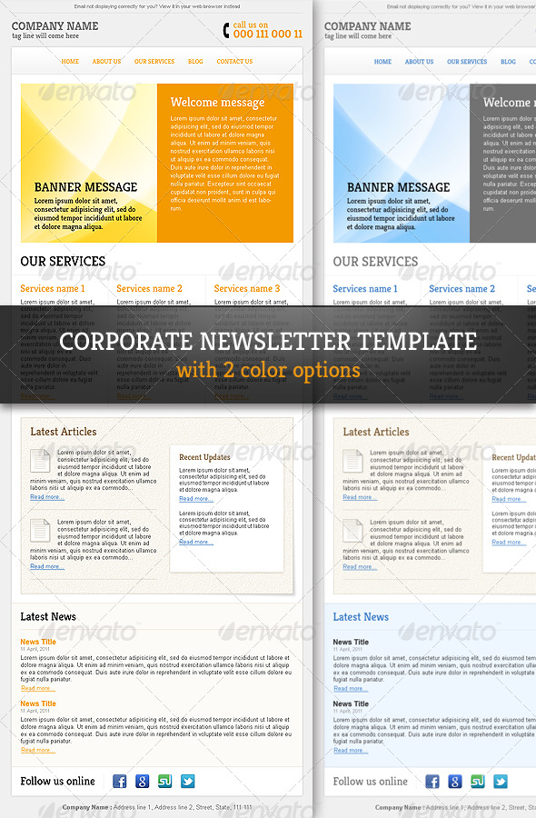 Corporate  Professional Email Newsletter Template By RGenesis