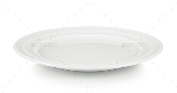 empty white plate on white background - Stock Photo - Images