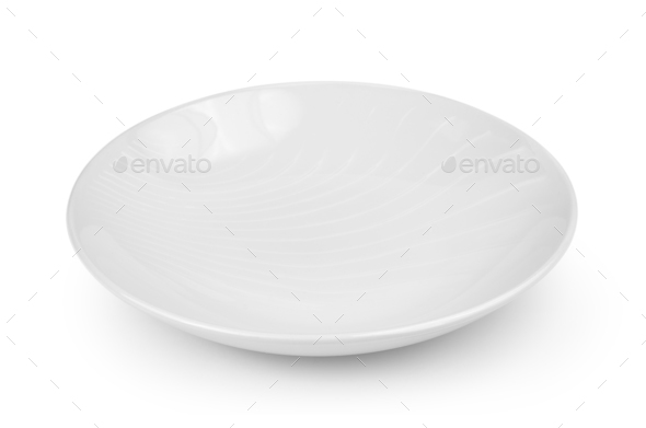 Empty plate isolated on a white background - Stock Photo - Images