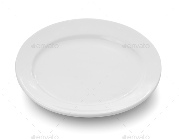 white plate on white background - Stock Photo - Images