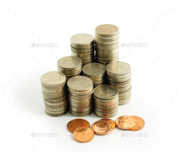 Coin thai bath on white background - Stock Photo - Images