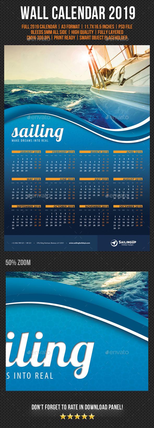 Wall Calendar A3 2019 V01 - Calendars Stationery