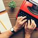 Top view of man using typewriter - PhotoDune Item for Sale