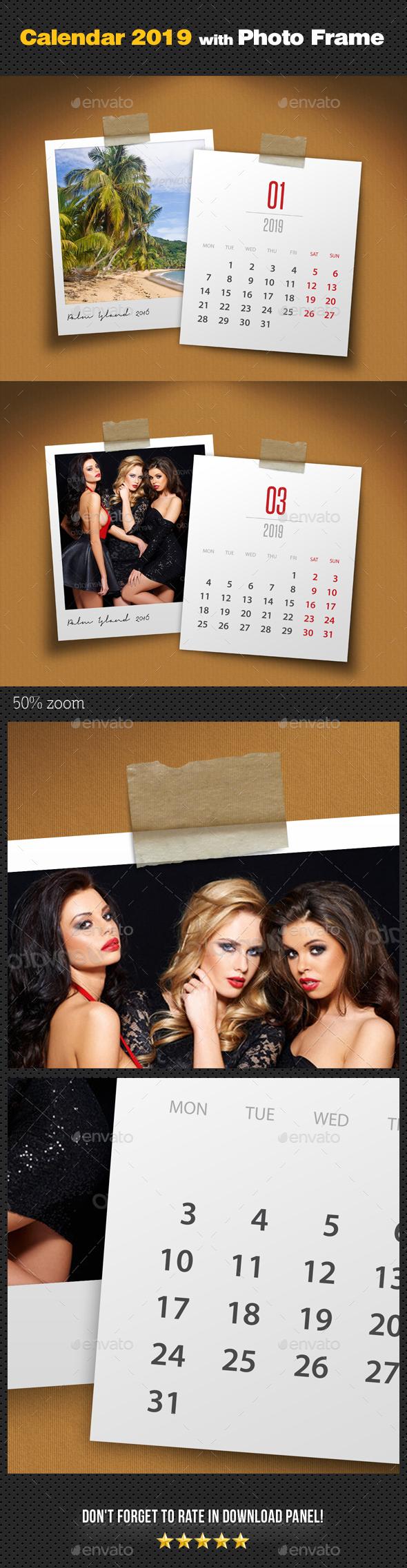 Customizable Calendar 2019 Photo Frame V04 - Miscellaneous Photo Templates