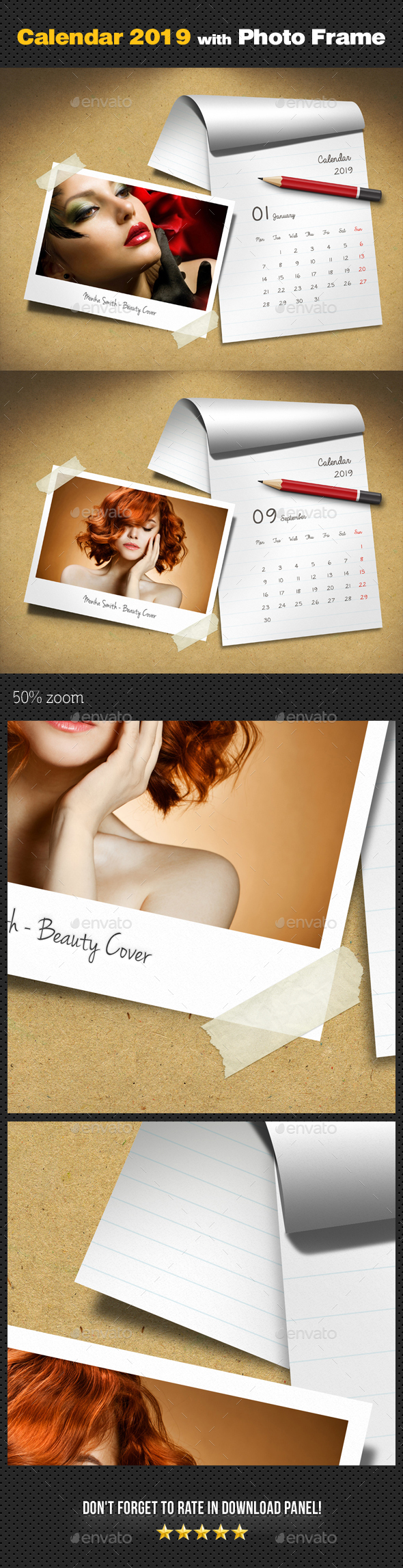 Customizable Calendar 2019 Photo Frame V06 - Miscellaneous Photo Templates