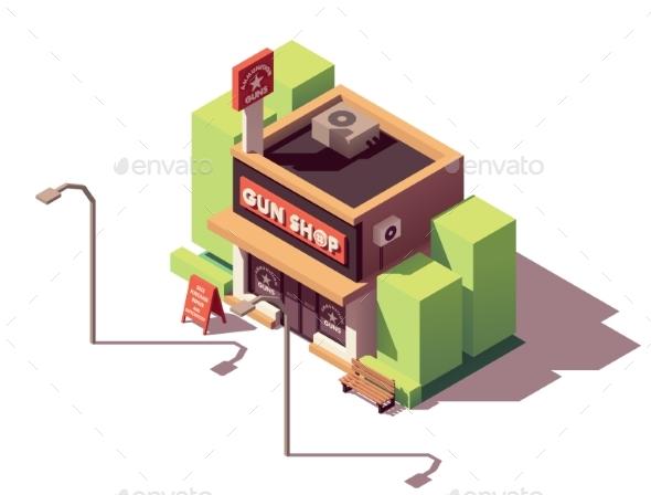 Vector Isometric Gun Shop - Buildings Objects