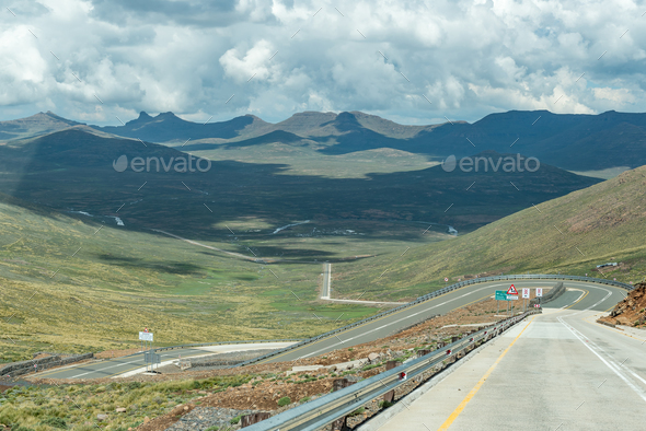 Black Mountain Pass in Lesotho - Stock Photo - Images