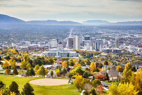 Aerial view of the Salt Lake City downtown in autumn. - Stock Photo - Images