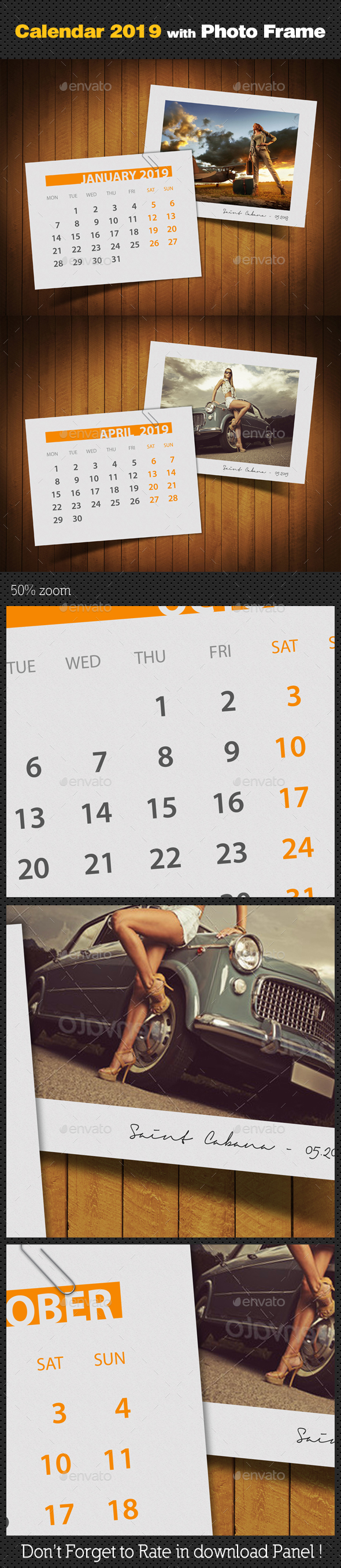 Customizable Calendar 2019 Photo Frame V03 - Miscellaneous Photo Templates