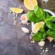 Ingredients for making pesto sauce on a stone background, - PhotoDune Item for Sale