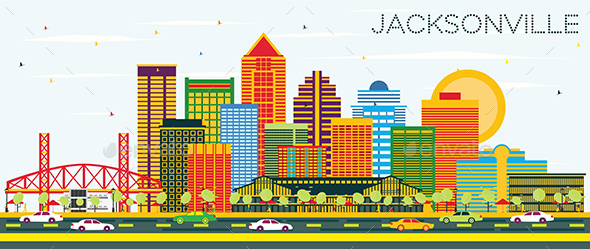 Jacksonville Florida Skyline with Color Buildings - Buildings Objects