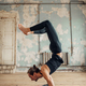 Yoga training in studio with grunge interior - PhotoDune Item for Sale