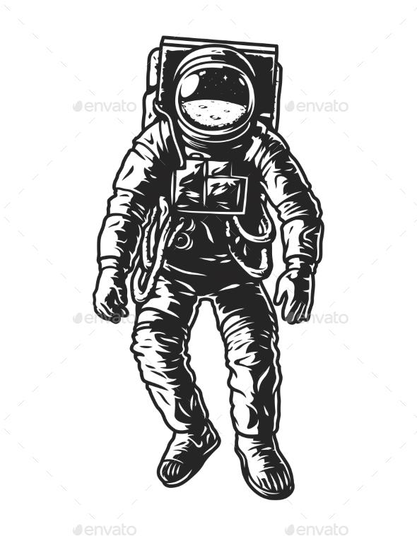 Vintage Monochrome Astronaut Concept - People Characters
