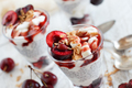 Cherry and yogurt chia pudding parfait