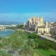 Aerial View of the Promenade and the Cathedral of Palma De Mallorca in Majorca - VideoHive Item for Sale