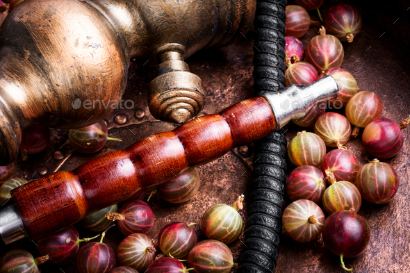 Stylish oriental shisha with gooseberry - Stock Photo - Images