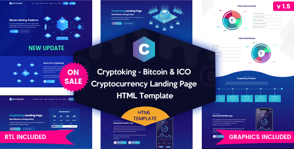 Cryptoking ICO - Bitcoin & ICO Cryptocurrency Landing Page HTML Template - Technology Site Templates