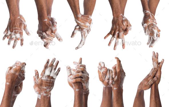 Set of black man washing hands isolated on white background - Stock Photo - Images
