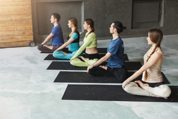 Young Women And Men In Yoga Class Relax Meditation Pose Stock Photo By Prostock Studio