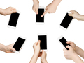 Child hands with smartphone, isolated