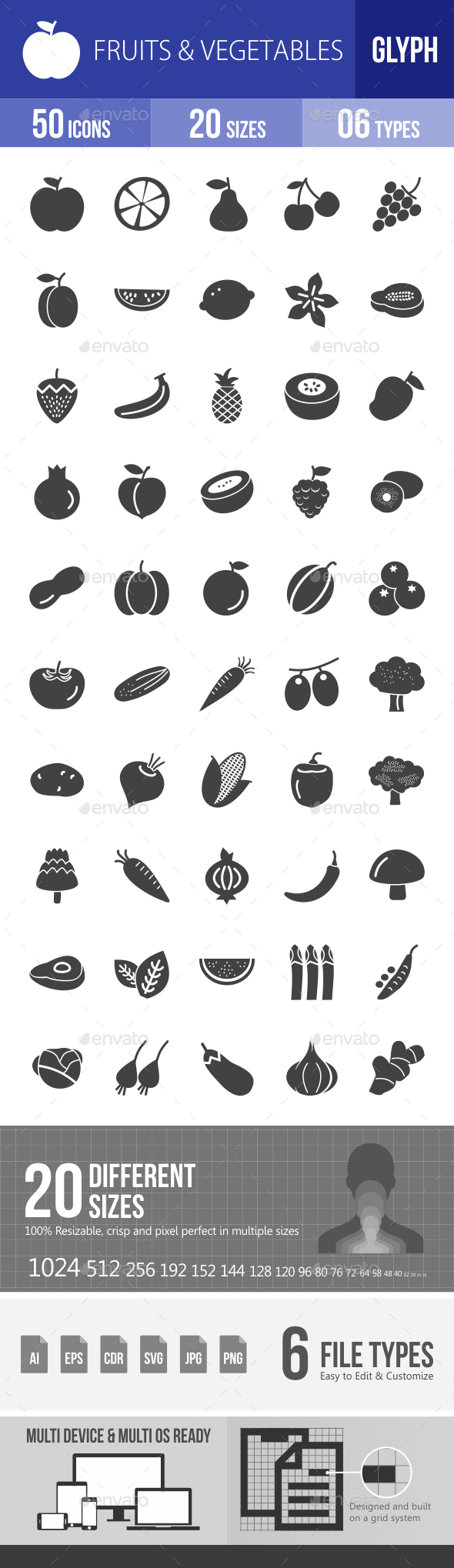 Fruits & Vegetables Glyph Icons - Icons