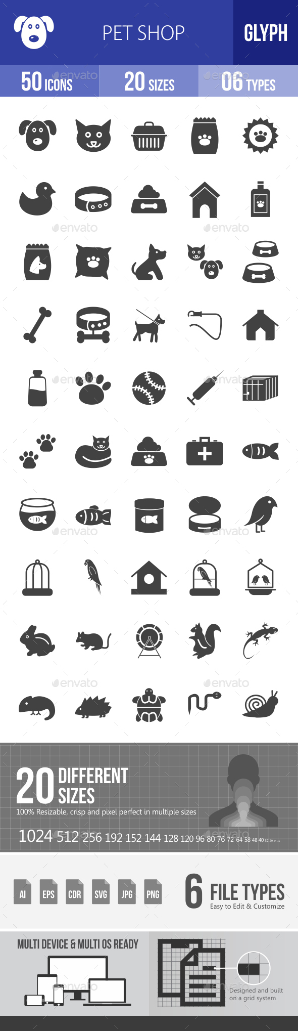 Pet Shop Glyph Icons - Icons