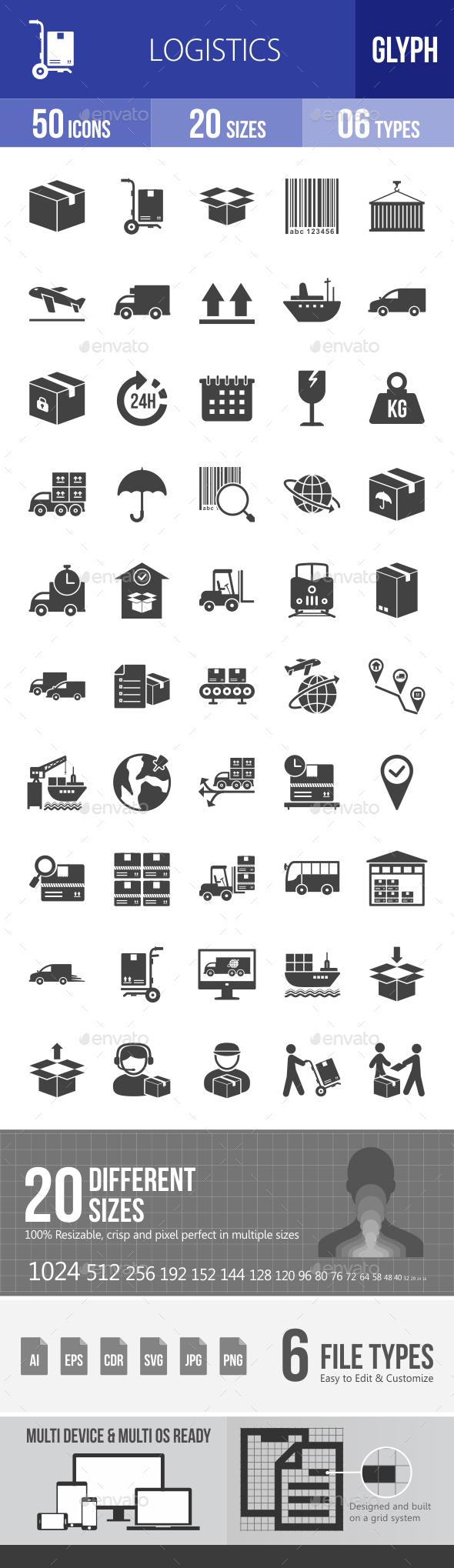 Logistics Glyph Icons - Icons