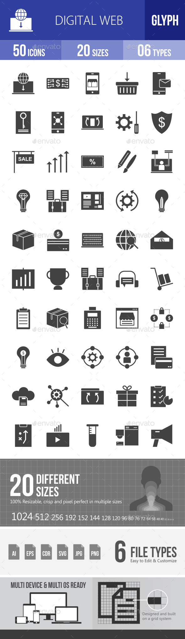 Digital Web Glyph Icons - Icons