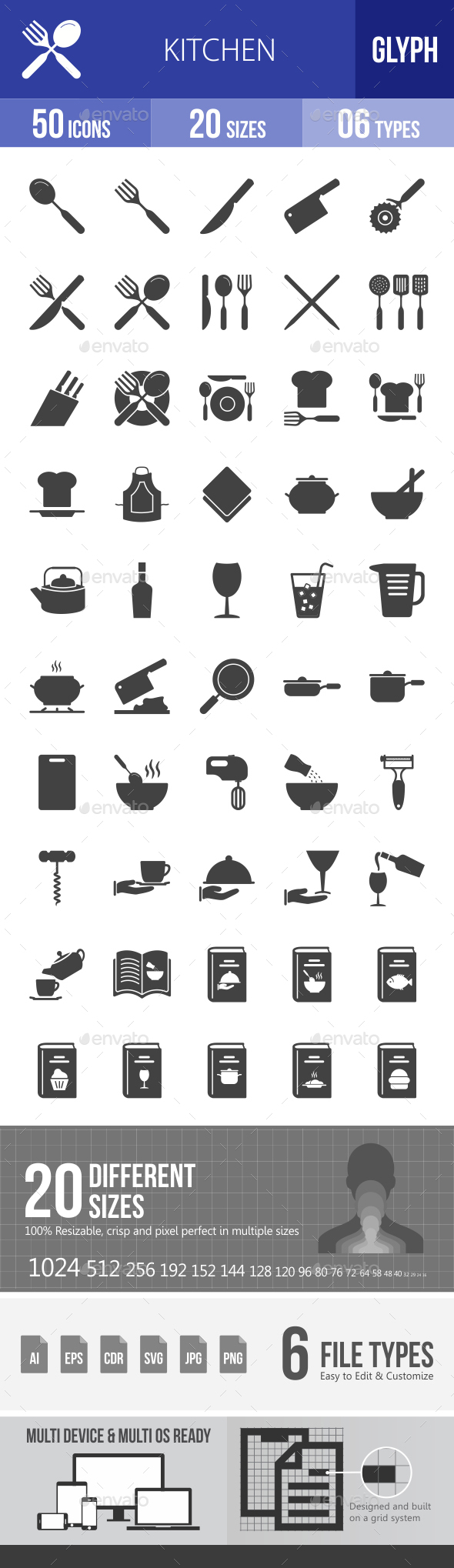 Kitchen Glyph Icons - Icons