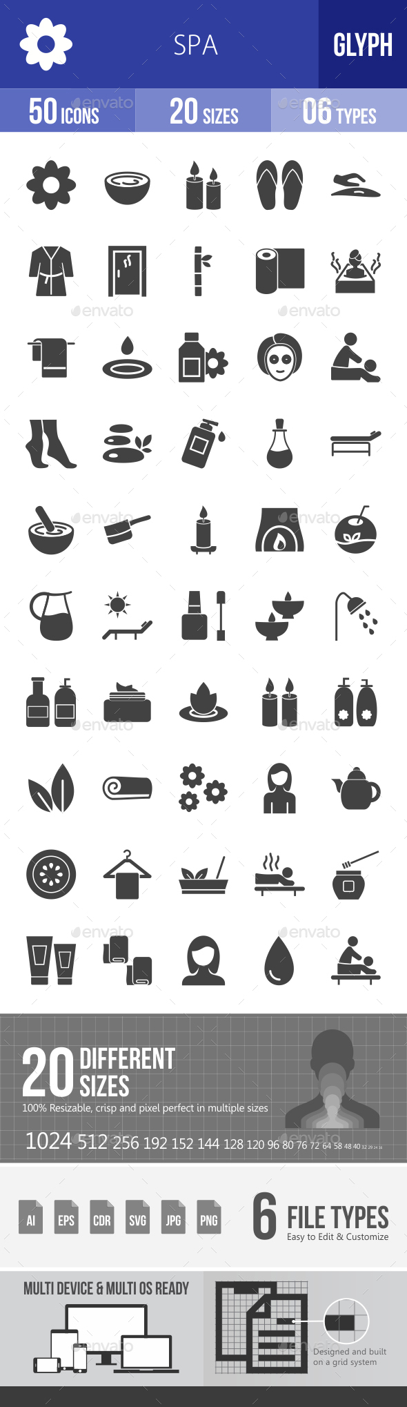 Spa Glyph Icons - Icons