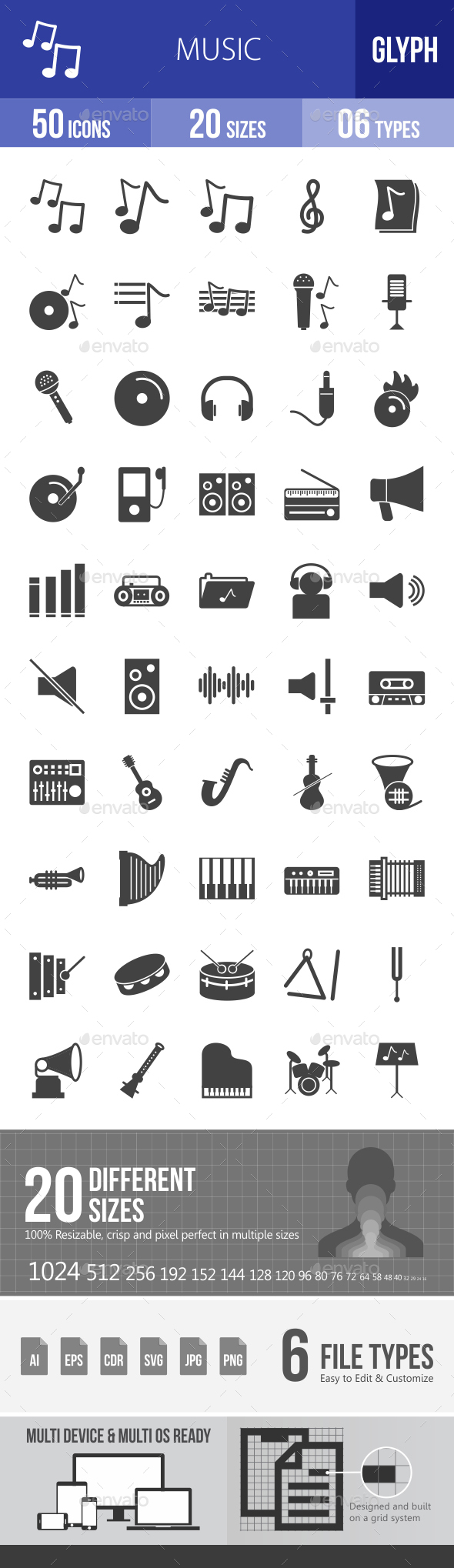 Music Glyph Icons - Icons