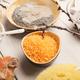 Orange sea salt and face cream on white wood - PhotoDune Item for Sale