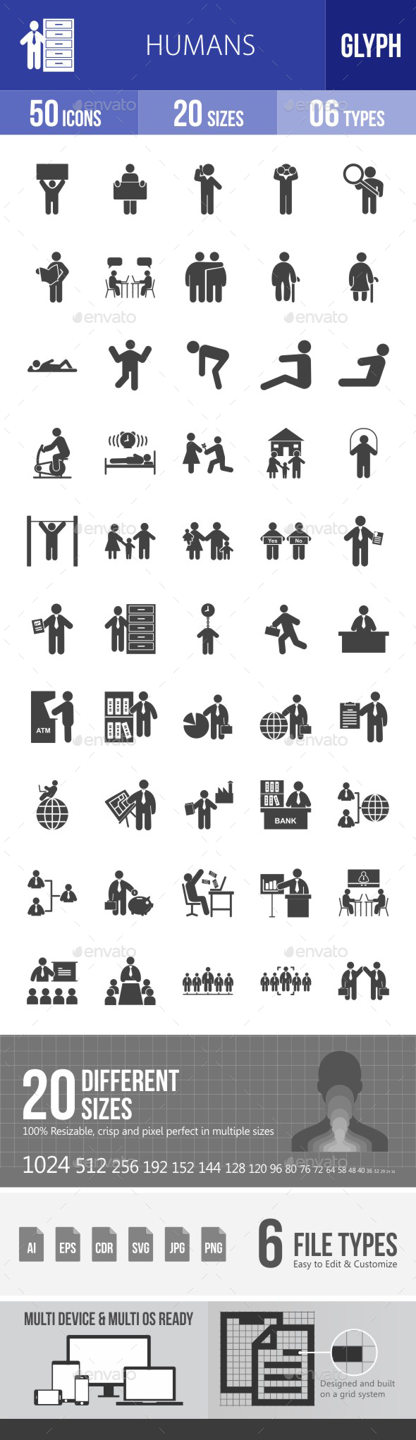 Humans Glyph Icons - Icons