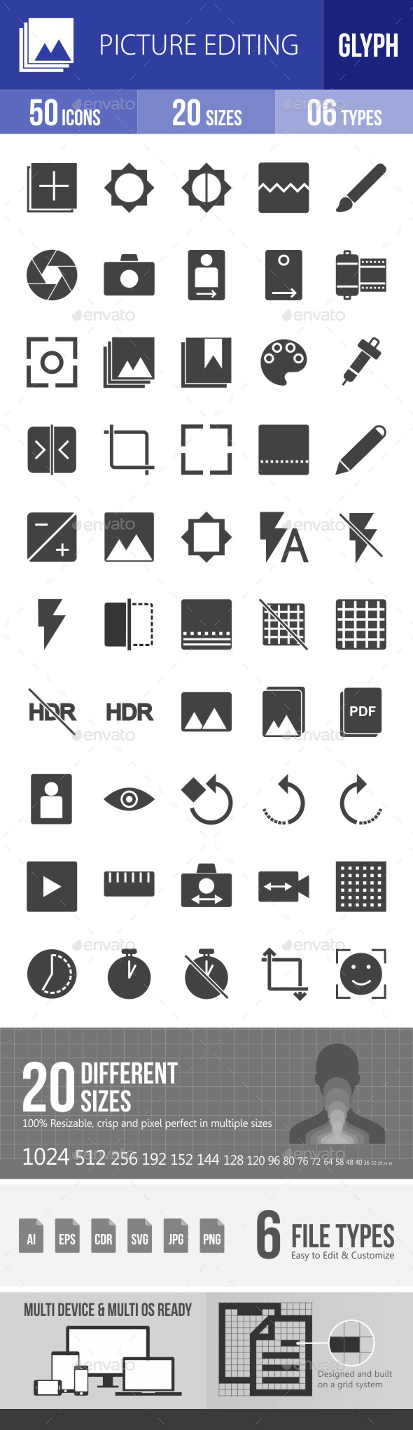 Picture Editing Glyph Icons - Icons