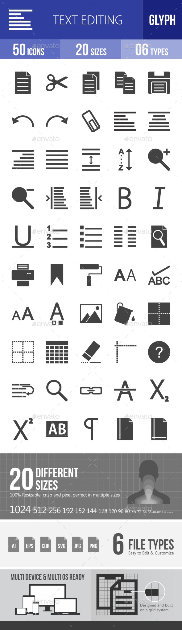 Text Editing Glyph Icons - Icons