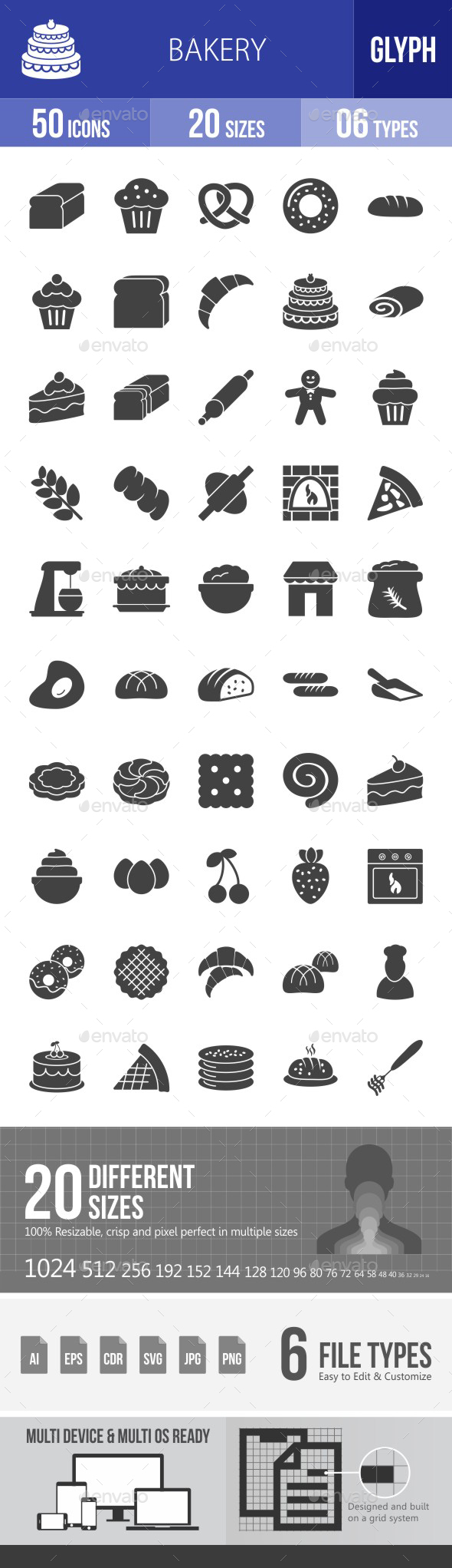 Bakery Glyph Icons - Icons