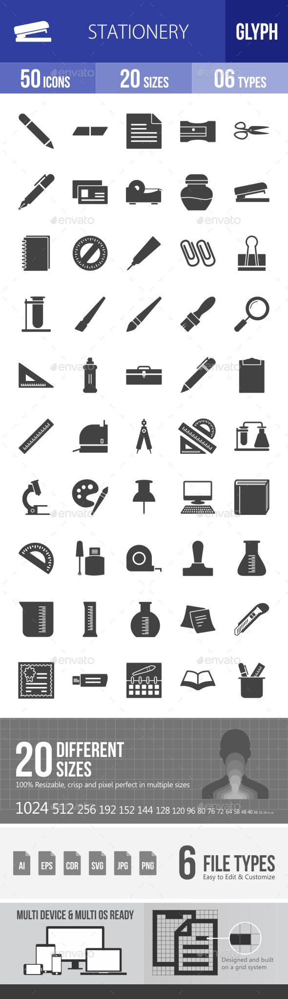 Stationery Glyph Icons - Icons
