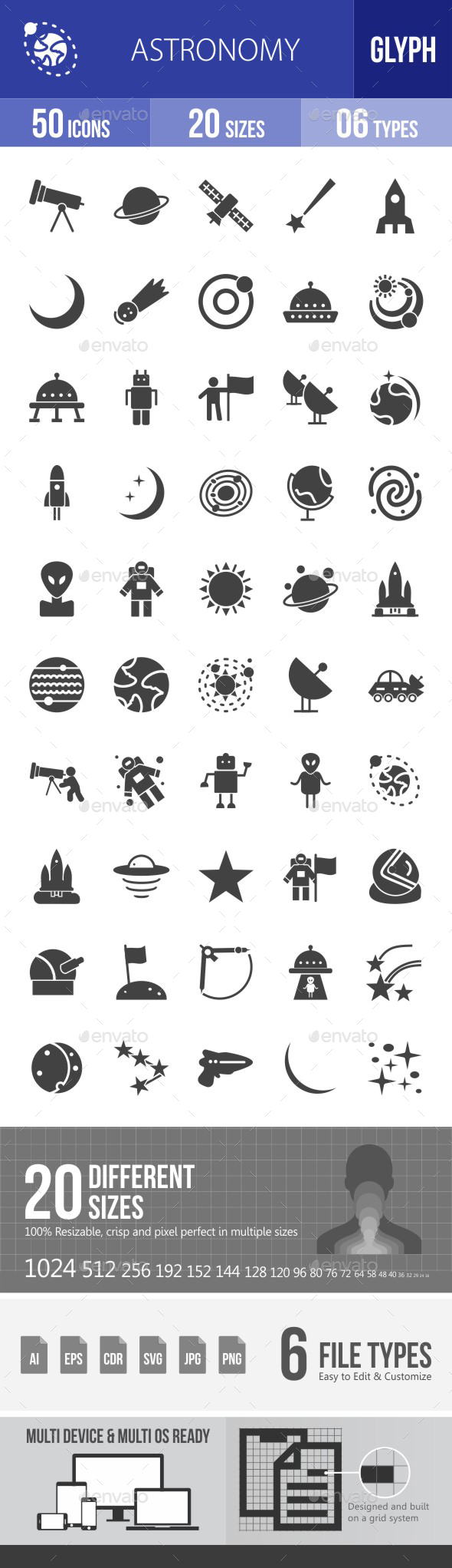 Astronomy Glyph Icons - Icons
